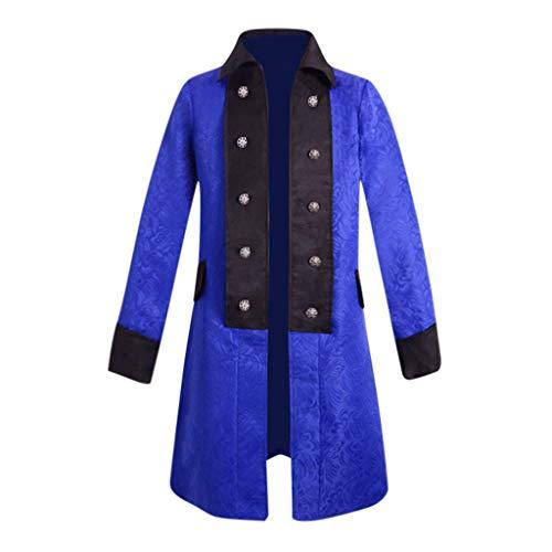 Yowablo Herren Jacke Frack Steampunk Gothic Gehrock Uniform Cosplay Kostüm Smoking Mantel Retro Langer Uniformkleid Plus Size Männer Langarm (5XL,1Blau)