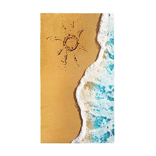 Fansu Toalla de Playa Microfibra Gigante Impresión Vista marítima 3D Rectangular Surf Toalla de Piscina Grande,Toalla Playera para Tomar el Sol de Verano Paño para Playa Unisex (Sol,70 * 150cm)