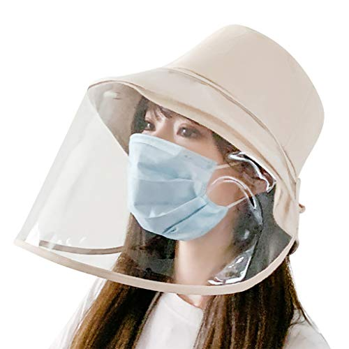 Pingtr Protector Facial Protector antisaliva Sombrero, Protector de Cara Completa, antiniebla, a Prueba de Polvo, Protector de Cocina, Anti-Aceite, Salpicaduras (Beige)