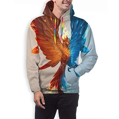 Athletic Drawstring Cool Ice and Fire Phoenix Bird Pullover Hoodie Hooded Sweatshirt with Front Pocket, Slim Fit Hoodies Sportswear for Exercise Training Date