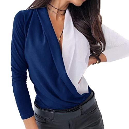 SLYZ 2021 Señoras Primavera Gran Tamaño Color Contrastante con Cuello En V Manga Larga Temperamento Camiseta Femenina