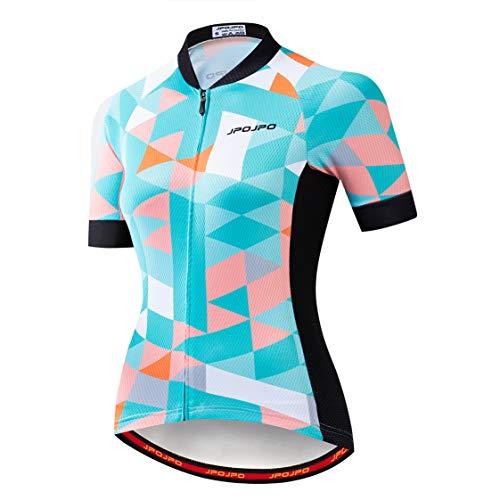 Weimostar - Maillot de ciclismo para mujer con cremallera, camiseta de manga corta para bicicleta de montaña Pro Team Racing MTB Tops para mujer, talla M