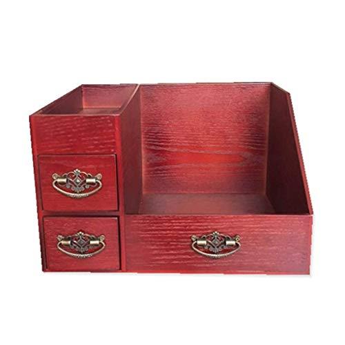 ZXL Houten opbergbox voor cosmetica, klein, slaapkamerkast van hout, kaptafel in 2 kleuren, 223 x 272 x 190 mm, kleur: A
