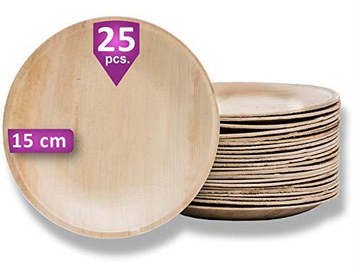 Waipur Platos Hoja de Palma Orgánicos – 25 Platos Desechables Redondos Ø 15 cm - Vajilla Ecológica de Lujo, Estable, Natural y Compostable - Platos de Fiesta – como Platos Bambú