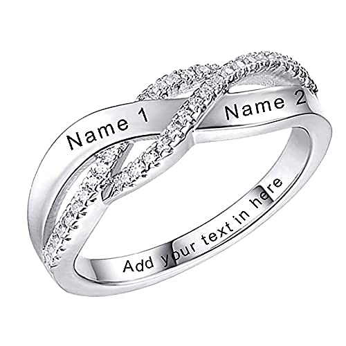 ONEFINITY Custom Names Personalized Rings for Her Jewellery 925 Sterling Silver Ring for Women for Girl Gift Cubic Zirconia Wedding Promise Eternity Ring