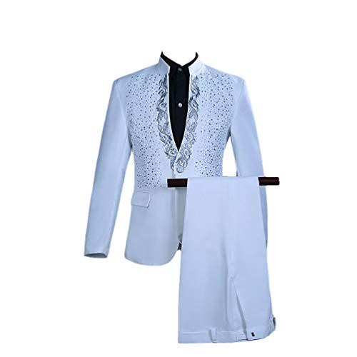 Yijinstyle Traje de Collar Pie para Hombres Trajes de Anfitrión de Reunión Anual Disfraz de Etapa Cantante Vestido de Fiesta (Blanco, Asia M)