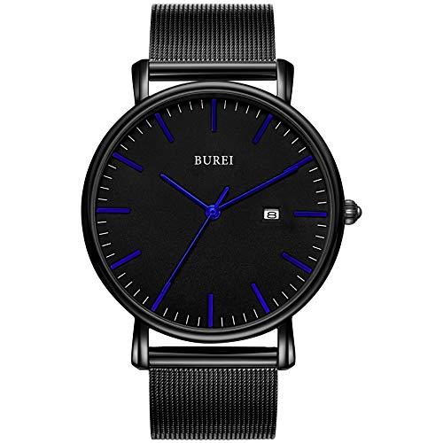 BUREI Stylish Minimalist Ultra Slim Herrenuhr Schwarzes dial Blaue Zeiger Kalenderanzeige mit Schwarz Armband