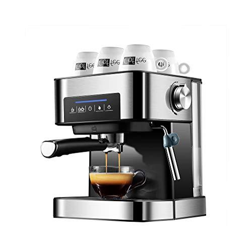 Professionele koffiemachine Geborsteld roestvrijstalen stoompijp Koffiemachine Koffiezetapparaat van 1,5 liter met timer met touchscreen, herbruikbaar wasbaar filter