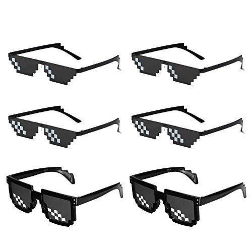 LAKIND 6 Pack Sunglasses Mosaic Glasses Photo Props Funny Glasses, Pixel Mosaic Glass Unisex Sunglass for Party