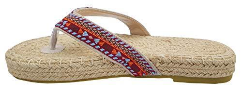 Boho Sandalen/Zehentreter/Flip Flops/Hausschuhe mit Sohlen aus Jute-Seil (Damen) (39 EU, Sunset Beach)