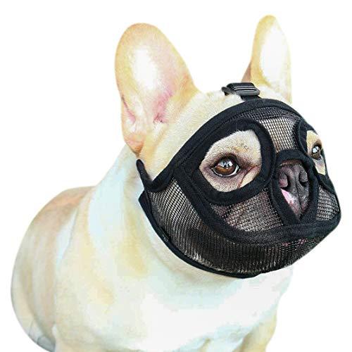 IBLUELOVER - Museruola per cani museruola in maglia corta, muschio, muzzule, cane/bulldog carlino, museruola anti mordillo, masticazione, abbaio regolabile, muscolo museruola