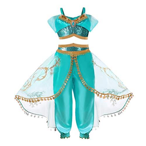 HOOPERT Niña Aladdin Princesa Jasmine Disfraz Tops Pantalones Manga Corta Traje Cosplay Actuación Carnaval Navidad Regalo Cumpleaños Danza Vientre Vestido de Princesa 3-10Años