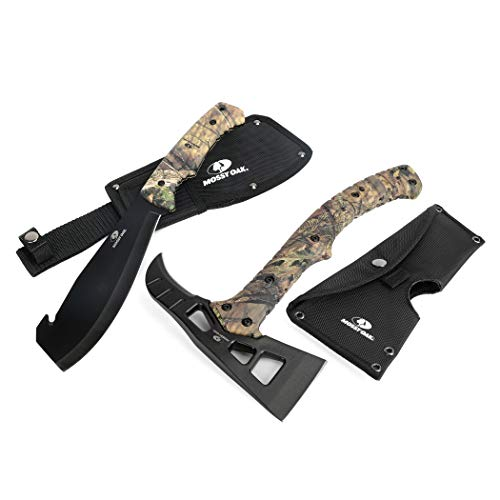 Mossy Oak 2-Piece Hatchet and Machete Set with Sheath - Camo Handle
