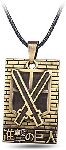 JIUJIN Anime Attack On Titan Shingeki No Kyojin Cosplay Jewlery Scouting Legion Badge Bronze Pendant Necklace