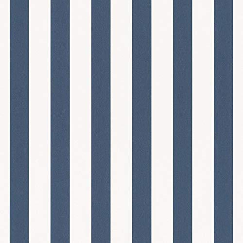 Rasch Tapeten Papiertapete (kindgerecht) Weiß Blau 10,05 m x 0,53 m Bambino XVIII 246049 Tapete