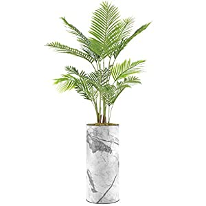 """Silk Flower Arrangements SIGNWIN Floor Plants Artificial Areca Palm Trees for Home, Fake Palm Plant with Grey and White Marble Texture Vase - Large Size 80"""" Overall"""