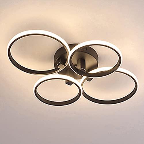 Plafón LED redondo moderno creativo romántico cálido negro y blanco regulable, 4 círculos, para salón, dormitorio, oficina, restaurante, sala de estar, 40 W (negro)