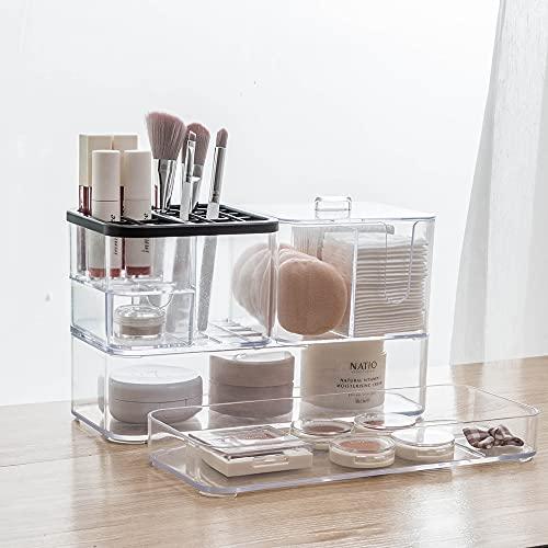 Xnuoyo Bandeja Organizadora De Maquillaje Transparente, Vitrina De Joyería Y Cosméticos, Caja De Almacenamiento Apilable, Estuche De Tocador para Joyería, Lápiz Labial, Pinceles De Maquillaje