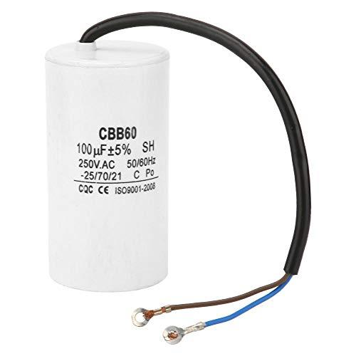 CBB60 Run Capacitor, AC CBB60 Capacitor 250V AC Capacitor 100uF Capacitor 50/60Hz Motor Run Capacitor with Wire Lead for Motor Air Compressor