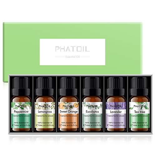 PHATOIL Set de Aceites Esenciales para Difusor, Humidificador, Masaje, Aromaterapia, Cuidado de la piel y el cabello