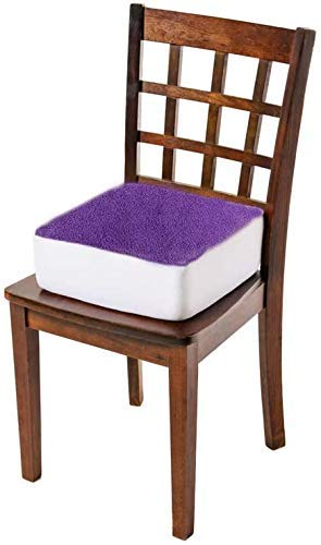 Comfort Finds Rise with Ease Seat Cushion - Thick Firm Chair Cushion Booster - Extra Thick Foam Pad for Home, Patio, Office and Car Seats - Extra Supportive Lift - 14 X 14 X 5 (Purple Fleece)