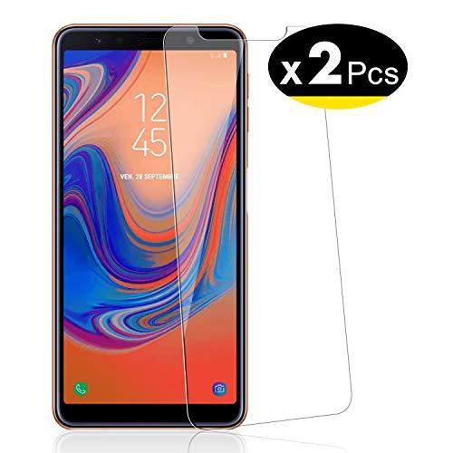NEW'C 2 Stück, PanzerglasFolie Schutzfolie für Samsung A7 2018, Frei von Kratzern Fingabdrücken & Öl, 9H Festigkeit, HD Bildschirmschutzfolie, 0.33mm Ultra-klar, Ultrawiderstandsfähig
