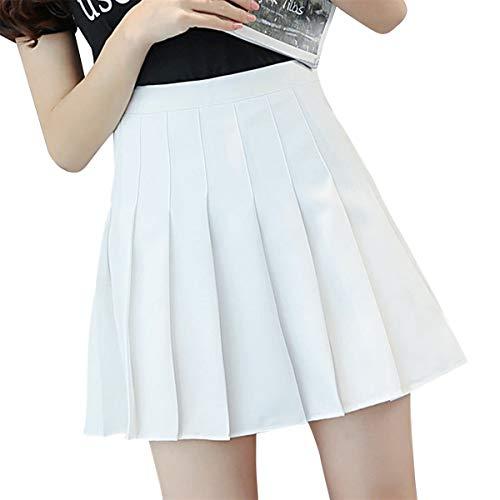 Meihuida Women Girls Pleated Tennis Skirt (A White, Large)