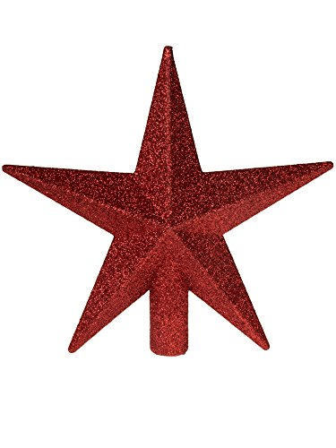 "Clever Creations Red Glitter Star Tree Topper Festive Christmas Décor | Perfect Complement to Any Holiday Decoration | Unlit Shatter Resistant Sparkled Plastic | 8"" Tall…"