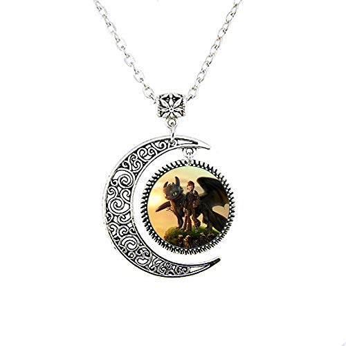bab How to Train Your Dragon Necklace Movie Pendant Dragon Jewelry Glass Photo Cabochon Moon Necklace Jewelry