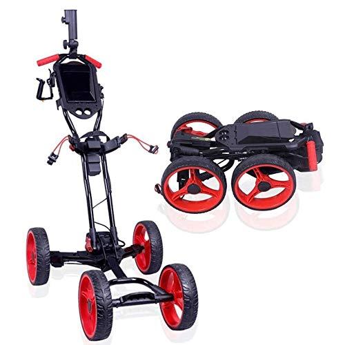SJB Golf Trolley Elektrische Golf-Trolley Cart Faltbare Golf Push-Pull-Wagen mit Handbremse, verstellbarem Schiebegriff, leicht zu öffnen/schließen