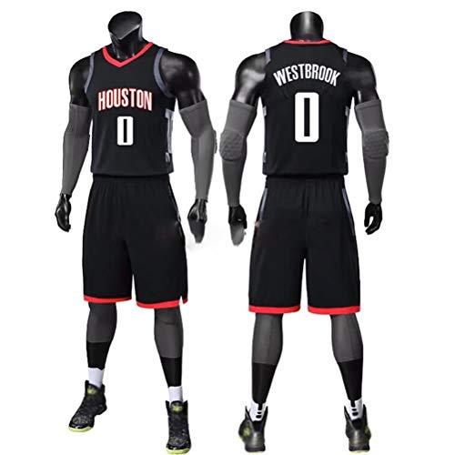Houston Rockets Russell Westbrook # 0  Pantaloncini in jersey per bambini Gioventù Uomo Unisex, Maglia Rockets No.0,set senza maniche classico, Maglia da basket per donna (L,B)