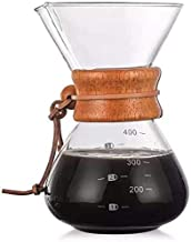 ماكينة تحضير قهوة الاسبرسو الكلاسيكية مصنوعة من الزجاج ومخصصة لاسلوب كيميكس في صب القهوة، مزودة بفلتر ووعاء قهوة سعة 400 مل
