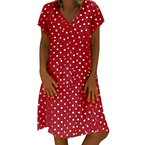 LOPILY Tunika Damen Große Größen Gepuntetes Kleid Lose Atmungsaktives Sommerkleid für Mollige V-Ausschnitt Strandkleid Knielang Umstandkleid Kurzarm Kleid mit Punkte Retro Kleid (Rot, DE-44/CN-2XL)