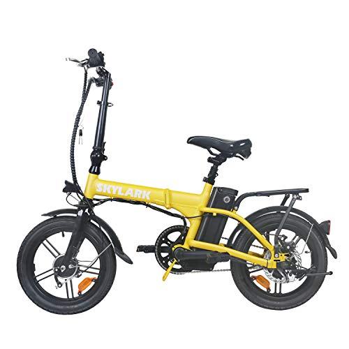 TrekPower Folding Electric Bike 250W Lightweight Aluminum Elecctric Bicycle 16' 36V10A Lithium Battery Ebike with Pedals,Power Assist, 20 Miles Range E-Bike with Dual Disc Brake (Yellow)