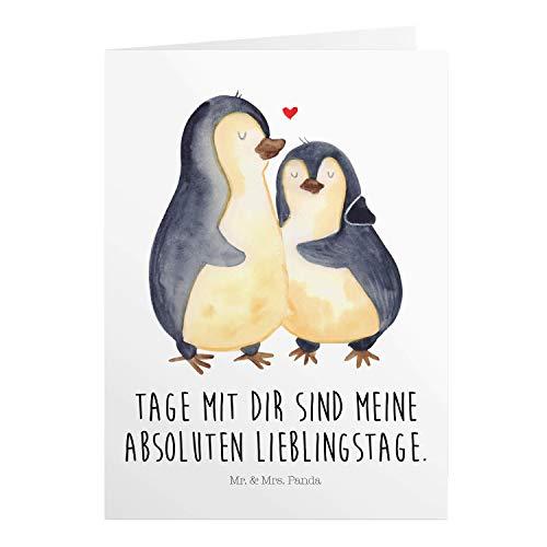 Mr. & Mrs. Panda Geburtstagskarte, Einladungskarte, Grußkarte Pinguin umarmend mit Spruch - Farbe Weiß
