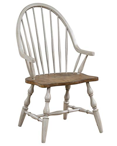 Sunset Trading Country Grove Windsor Dining Chair with Arms| Distressed Gray and Brown Wood