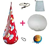 SFBBAO Hamac Colorful Color Design Children Meubles Intérieur Enfant Extérieur Gonflable Portable 150 * 70cm Rouge 1 avec la Corde