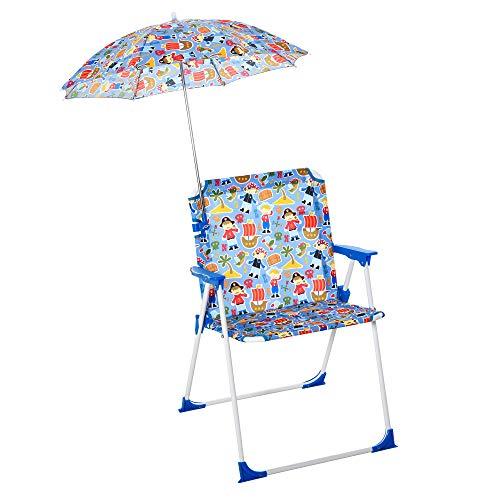 Outsunny Sedia Pieghevole per Bambini con Ombrello Parasole per Giardino Spiaggia Campeggio, 44.5x43x64.5cm