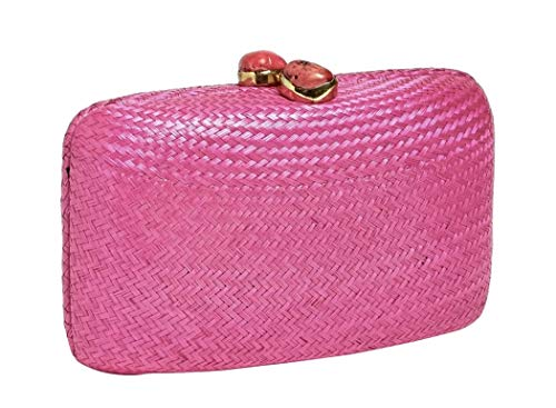 Kayu Straw Clutch Shoulder Bag Pink with Red Stones