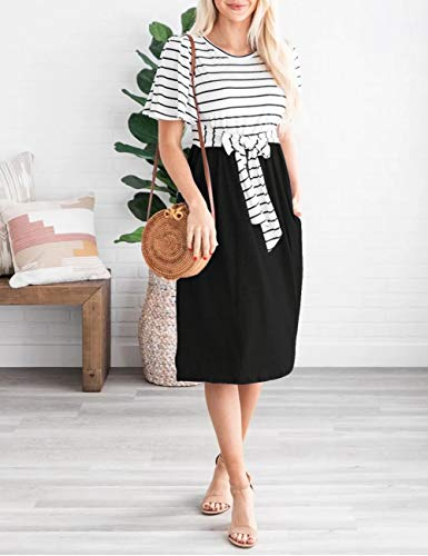 Women's Summer Striped Ruffle Casual Swing Midi Dress 4