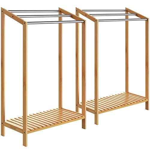 Casaria 2X Handtuchhalter Bambus 3 Edelstahlstangen treppenförmig Ablage Handtuchständer Handtuchstange freistehend Bad