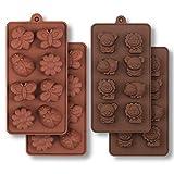 homEdge Molde de silicona para chocolate, insectos forestales y animales con hipopótamo, león, mariposa, abeja, mariquita para dulces, gelatina-4 piezas
