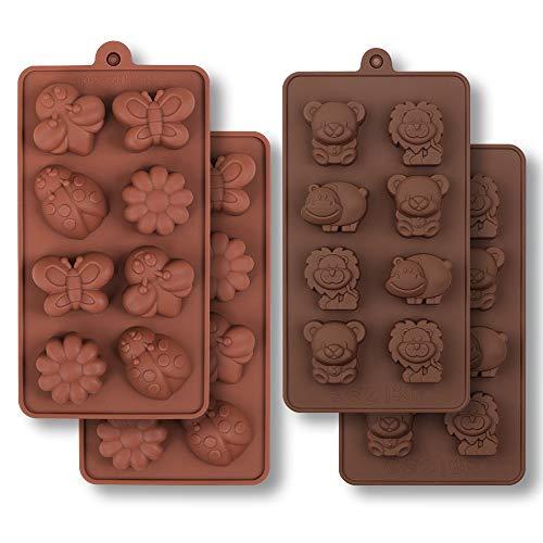 HomEdge - Stampo in silicone per cioccolatini, motivo insetti e animali selvatici, a forma di ippopotamo, orso, leone, farfalla, ape, coccinella, per caramelle e gelatina, 4 pezzi
