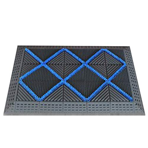 LIMING Tapijt ingangsmatten van rubber hoogwaardige buitendeurmat, buitentapijt, antislip rubberen mat, stofbeschermingsmat, deurmat voor buiten, deurmat, grijze borstel met blauw blok