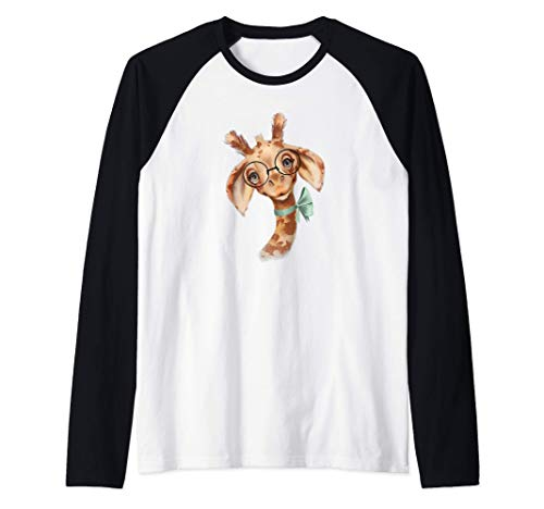 Cute Smart Giraffe Wearing Glasses Bow Tie Animal Lover Camiseta Manga Raglan