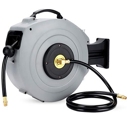 Retractable Air Hose Reel Wall Mount with 3/8 in. x 50 FT Hybrid Hose, Air Compressor Hose Reel, Premium Commercial Hybrid Flex Polymer Hose, Any Length Lock, Slow Return System, Brass Connector