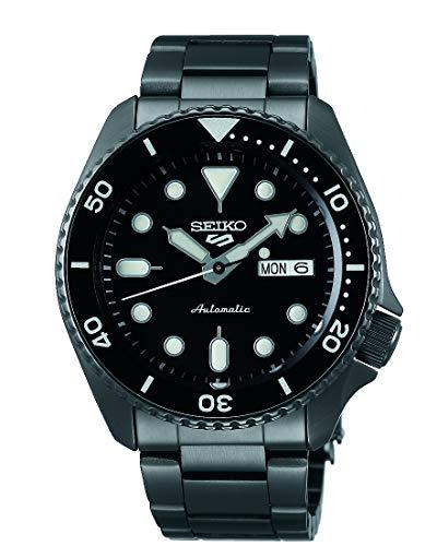 Seiko 5 Sports Herren-Uhr mit Titankarbidauflage und Metallband SRPD65K1