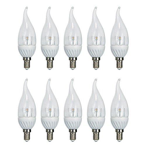10 x LED Leuchtmittel Windstoß Kerze Crystal 4W = 30W E14 klar warmweiß 2700K