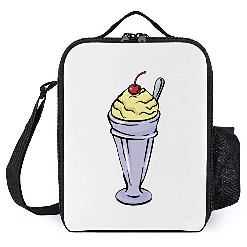 Lunch Box for Kids Lunch Bags with Bottle Holder for Women Men Milkshake Fashion Insulated Lunchbox Large Reusable Meal Prep Bag for Work School Picnic