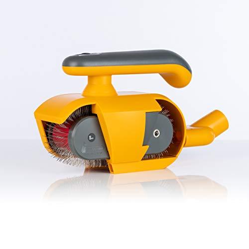 FurWonder Elektrische Hundebürste / Fellbürste in gelb für Hunde und Pferde - Entfernen von überschüssiger Unterwolle